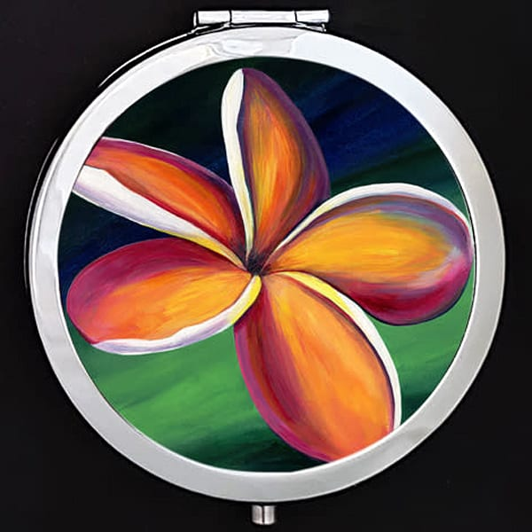 """Danicing Plumeria"" painting by Mare's Art printed on a mirrored compact."