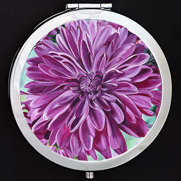 """Joyful Blooms"" painting by Mare's Art printed on a mirrored compact."