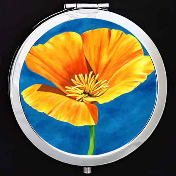 """""""Radiance"""" painting by Mare's Art printed on a mirrored compact."""