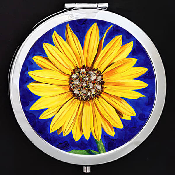 """Sassy Sunflower"" painting by Mare's Art printed on a mirrored compact."