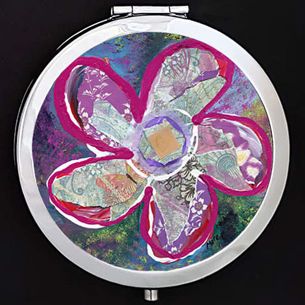 """Vitality"" painting by Mare's Art printed on a mirrored compact."