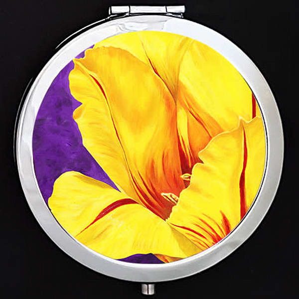 """""""Luminous"""" painting by Mare's Art printed on a mirrored compact."""