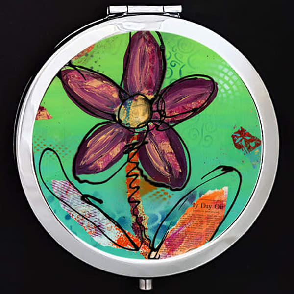 """Playful Flower"" painting by Mare's Art printed on a mirrored compact."