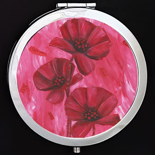 """Poppy Love"" painting by Mare's Art printed on a mirrored compact."
