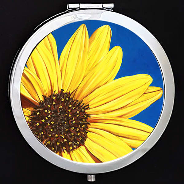 """Peeking Sunflower"" painting by Mare's Art printed on a mirrored compact."