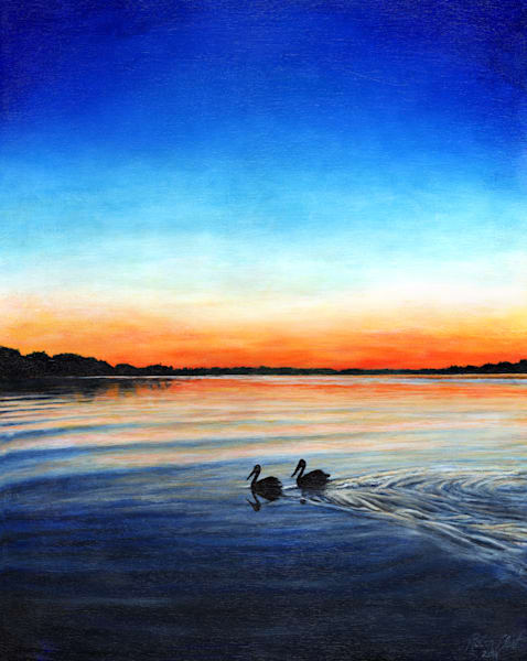 Pelican Sunset Original Acrylic Painting and Prints