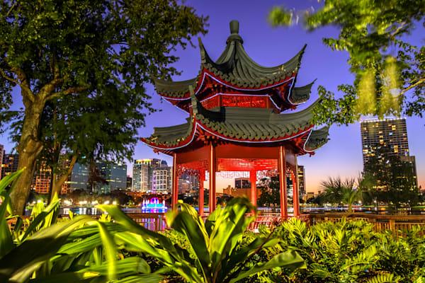 Pagoda at Lake Eola Park in Orlando - Pictures of Orlando Florida | William Drew