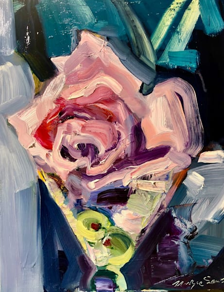 """Fragrant"" oil painting of Grey Goose vodka martinis and pink rose by Monique Sarkessian, 8""x10"",oil $250"