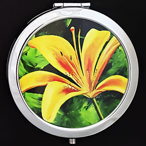 """Day Lily"" painting by Mare's Art printed on a mirrored compact."