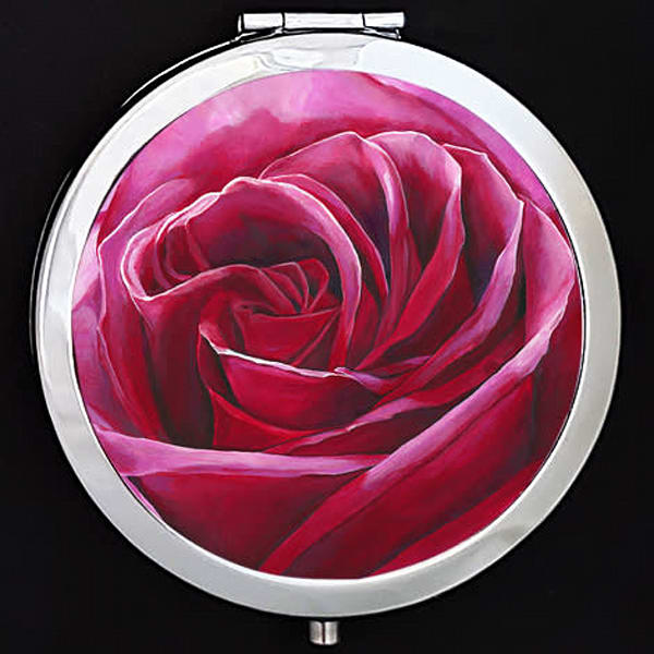 """""""Intimate"""" painting by Mare's Art printed on a mirrored compact."""