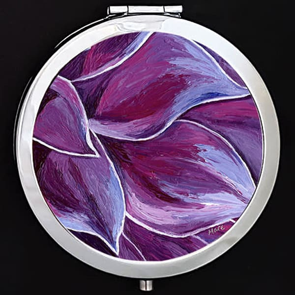 """Peaceful Petals"" painting by Mare's Art printed on a mirrored compact."