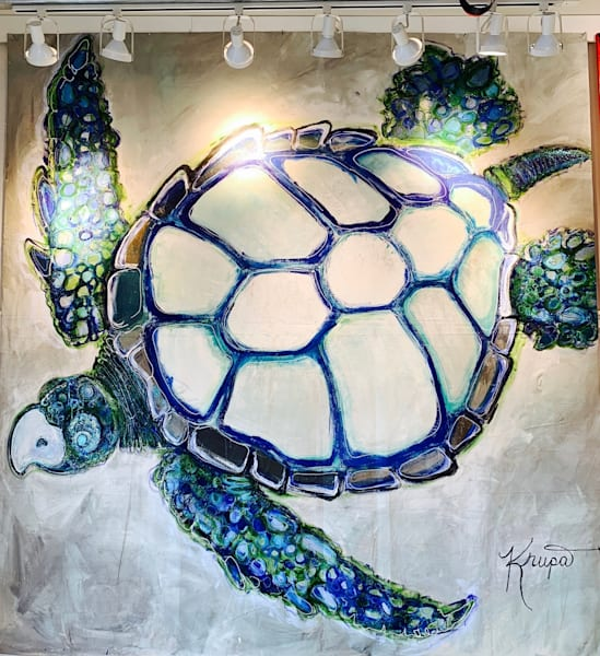 Sea Turtle Majestic King Rockstar Art by staciekrupa