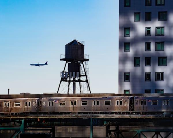 Plane & Subway Going Past Water Tower, Astoria, New York City