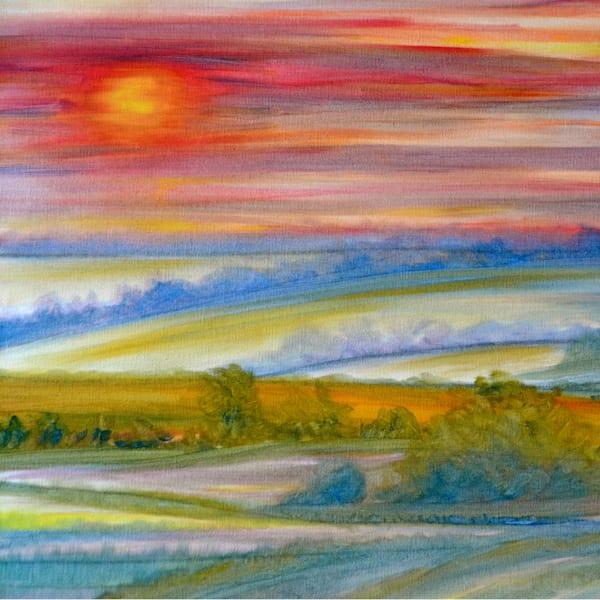 Iowa Sunrise Original Painting by Marie Stephens Art