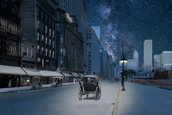 Michigan Avenue North From Van Buren, Nighttime Art | Mark Hersch Photography