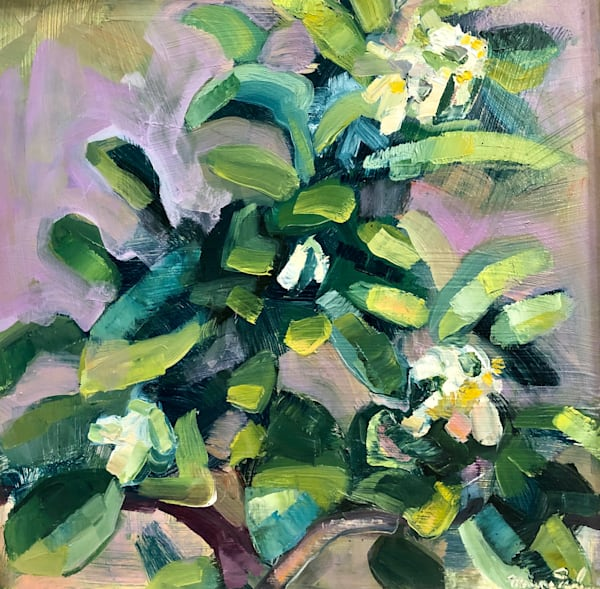 "original plein air/still life oil painting ""Lemon Tree 3"" by Monique Sarkessian is 12""x12', oil on panel, framed with a silver wood frame."