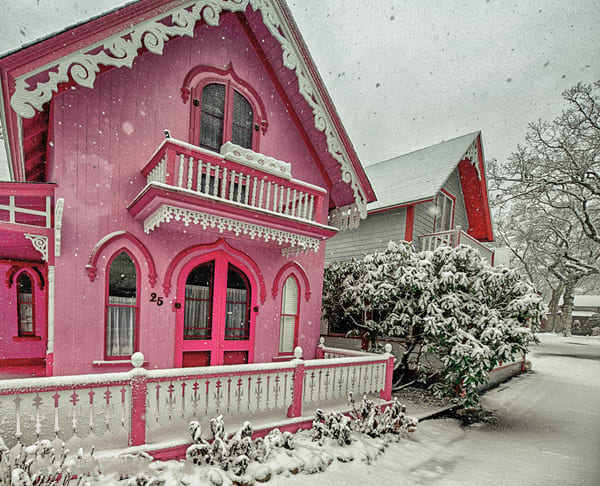 Pink House Snow