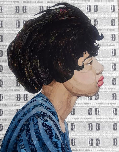 Dolores Lynch, Freedom Rider, Profile Art | Karen Sikie Paper Mosaic Studio