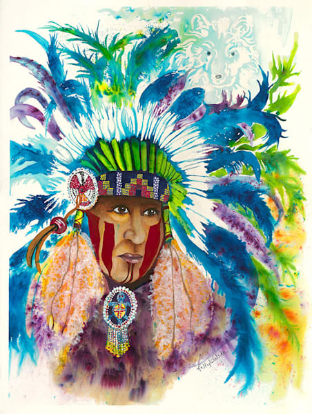 """Chief Spirit Wolf"" fine art print by Kelly Wolske."