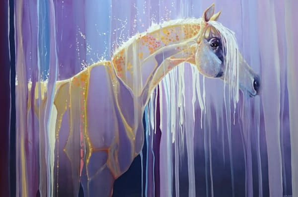 large original equine oil painting, golden horse assembling out of nothing