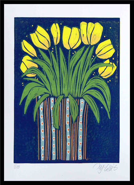 Tulips - linocut reduction