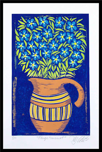 Forgetmenot - linocut reduction