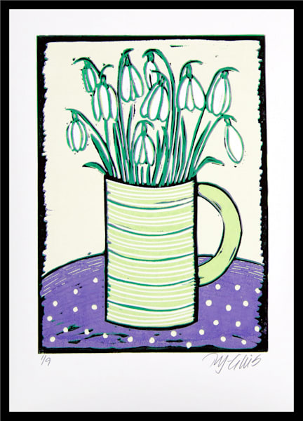 Snowdrops - linocut reduction