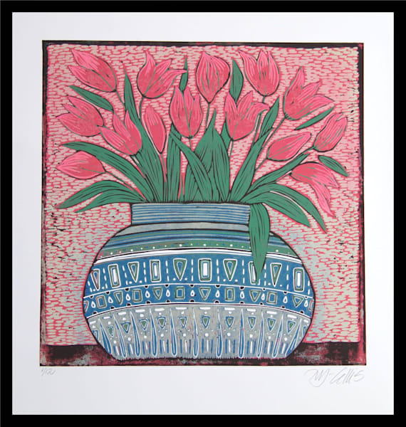 a big bowl of Tulips - linocut reduction