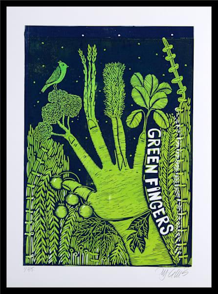 Green fingers - 2 plate linocut