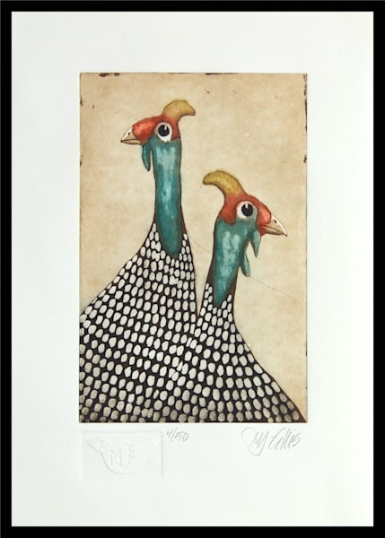 Guinea Hens   Aquatint Etching Art | mariannjohansen-ellis