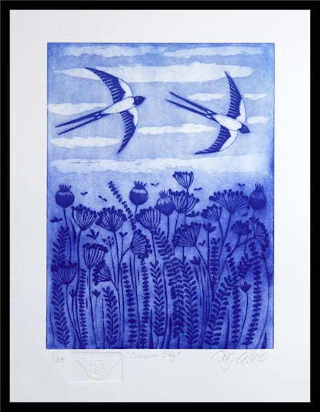 Summer Sky   Aquatint Etching Art | mariannjohansen-ellis