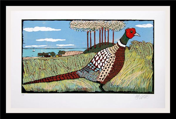 Birds and Countryside, original linocuts and etchings with birds, exotic birds and country side landscapes, original art, art prints, painting, art, paintings