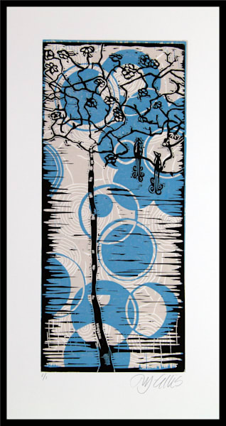 two love birds in a tree in this blue and yellow linocut mono print, art, paintings
