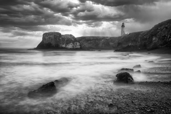 Lighthouse with Black Beach