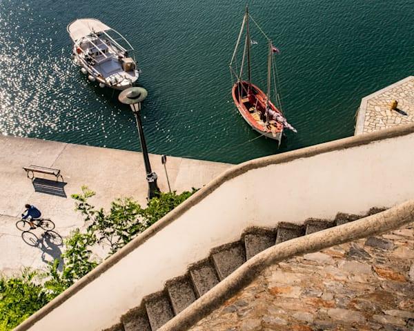 Biking Through Skopelos Port, Greece Photography Art | Ben Asen Photography