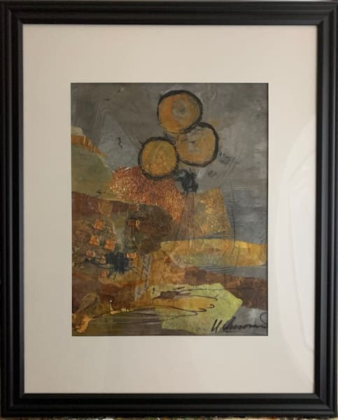 mixed media, collage, landscape, art, fine art, gold, bronze, yellow