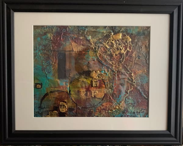 Bling, mixed media, acrylic, gesso, turquoise, gold, art, fine art