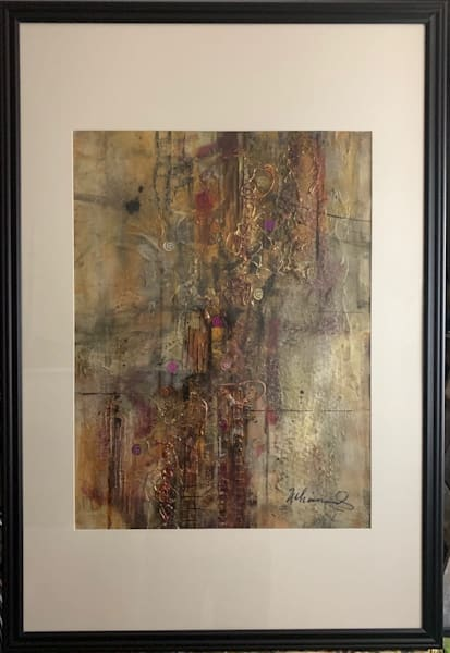 Mixed media, abstract, gold, copper, magenta, black, bling, art, fine art