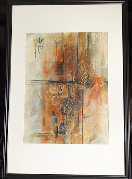 Mixed media abstract, writing, papers, fabric, gesso, acrylic, gold, orange, black, art, fine art