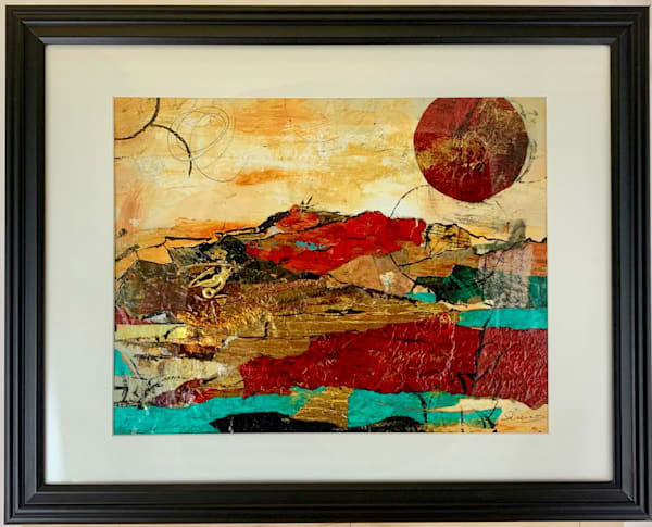 Mixed media abstract landscape turquoise red gold black, art, fine art