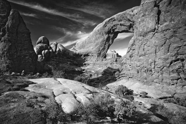 Redrock desert landscape, Turret Arch, Arches National Park.