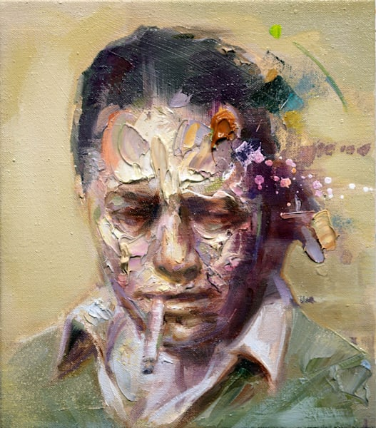 Albert Camus Ii (Oil On Print) Art | Mathieu Laca