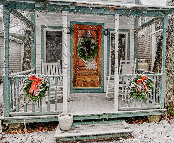 Oak Bluffs Gingerbread Porch Snow