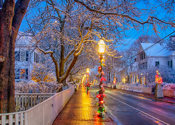 Edgartown Main Street Snow Photography Art | Michael Blanchard Inspirational Photography - Crossroads Gallery