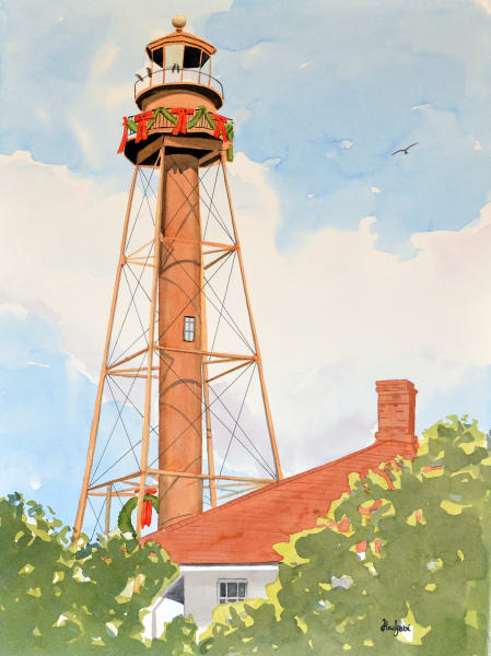 Sanibel Lighthouse decked out for the Holidays - A painting by Sanibel artist Shah Hadjebi