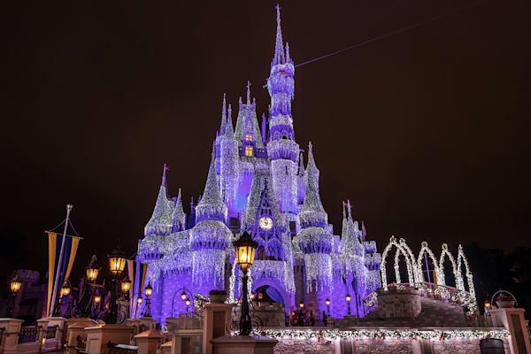 Purple Cinderella's Castle at Christmas - Walt Disney Wall Art | William Drew
