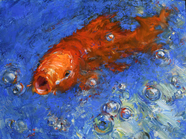 Orange Koi Oil Painting