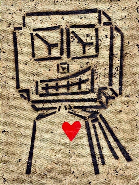 Gold Love Robot Street Art Painting - Available for Purchase - Wet Paint NYC Gallery