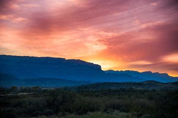 Sunrise over the Sierra del Carmen Mountains - Big Bend National Park photography prints