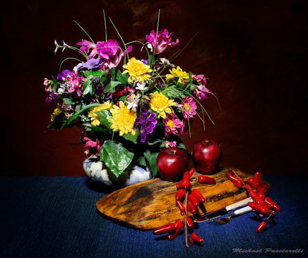 A Fine Art Photograph of Old Flowers and Fruit by Michael Pucciarelli